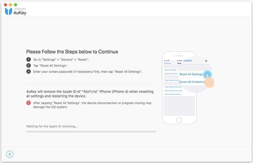 guia de desbloquear id apple com 4uKey cenário 2