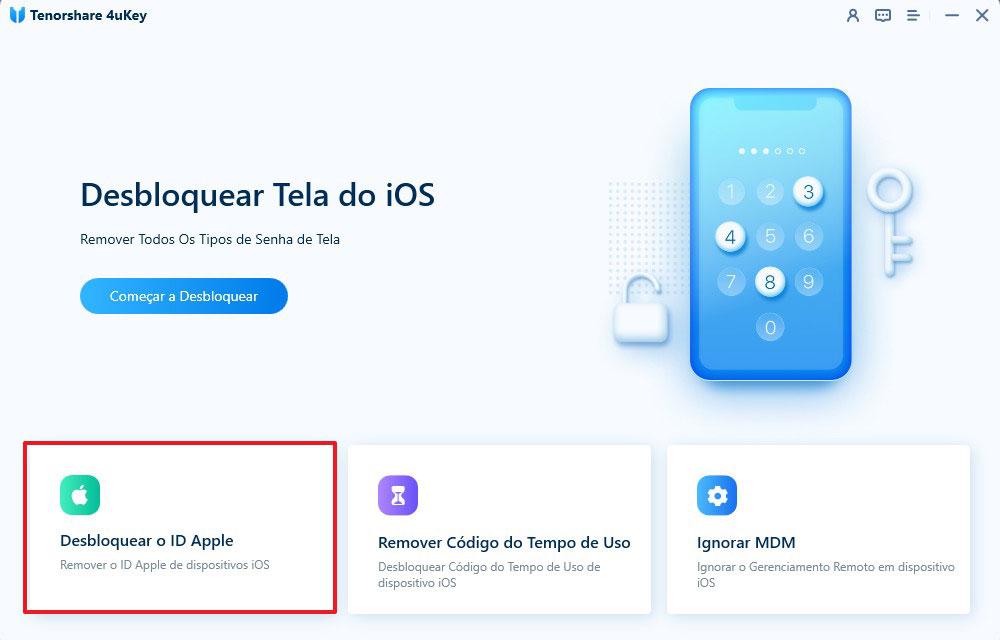 guia de desbloquear id apple com 4uKey etapa 1