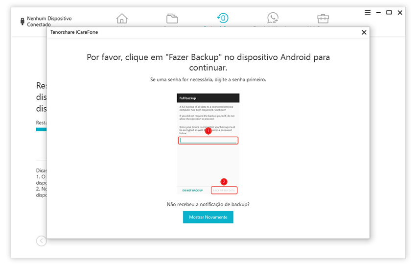 guia de restaurar backup do whatsapp para android com icarefone etapa 4