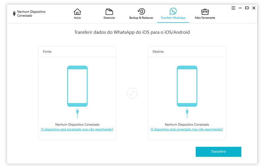 guia de transferir whatsapp iphone para iphone com icarefone etapa 1