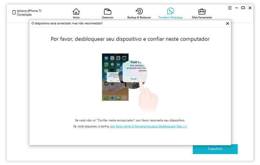 guia de restaurar backup do whatsapp para iphone com icarefone etapa 1