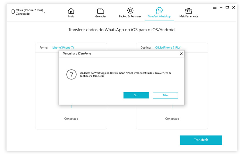 guia de transferir mensagens whatsapp iphone para iphone com icarefone etapa 2