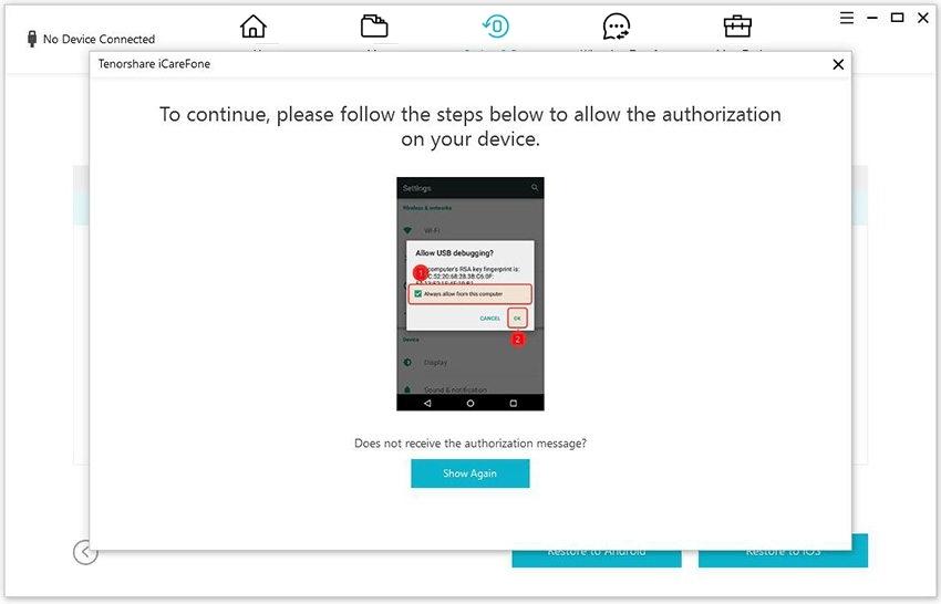 guia de restaurar backup do whatsapp para android com icarefone etapa 1