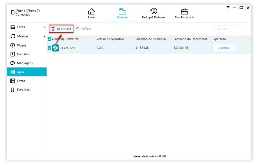 guia de gerenciar aplicativos com icarefone