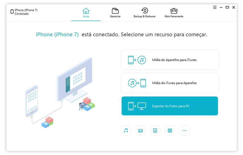 guia de exportar as fotos do iphone para pc com icarefone etapa 1