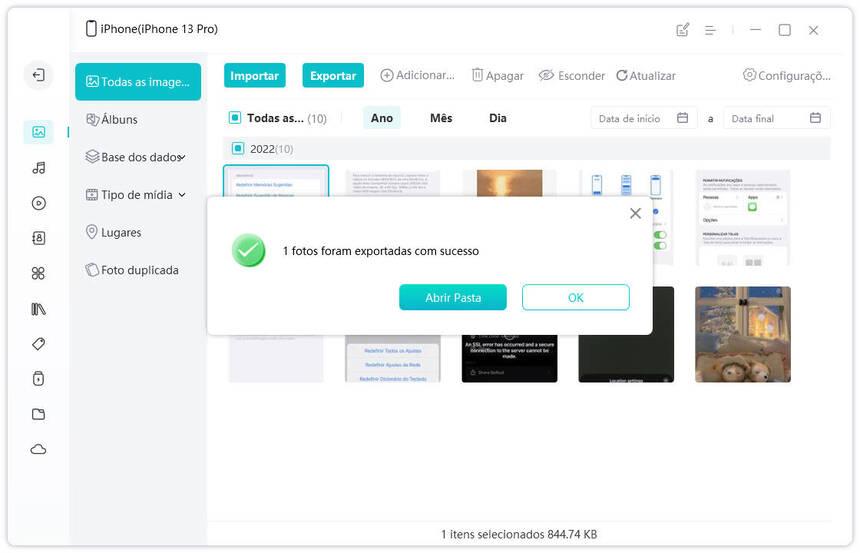 guia de exportar as fotos do iphone para pc com icarefone etapa 2