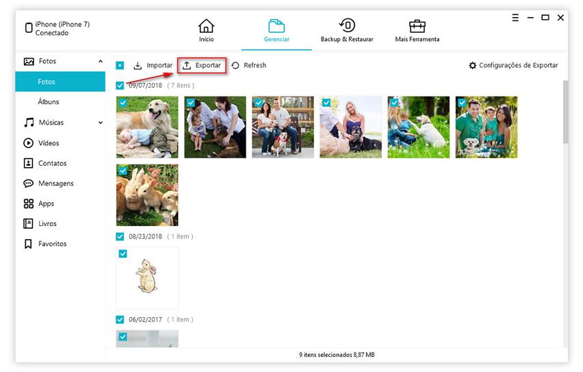guia de exportar fotos com icarefone