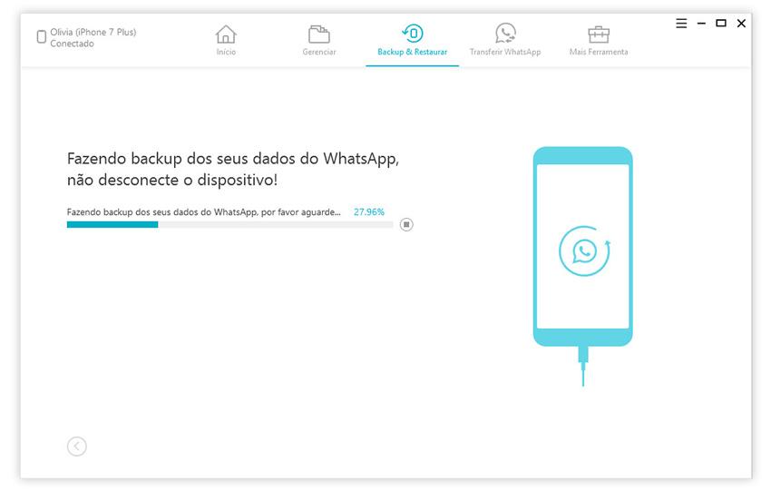guia de fazer backup de conversas do whatsapp com icarefone etapa 2