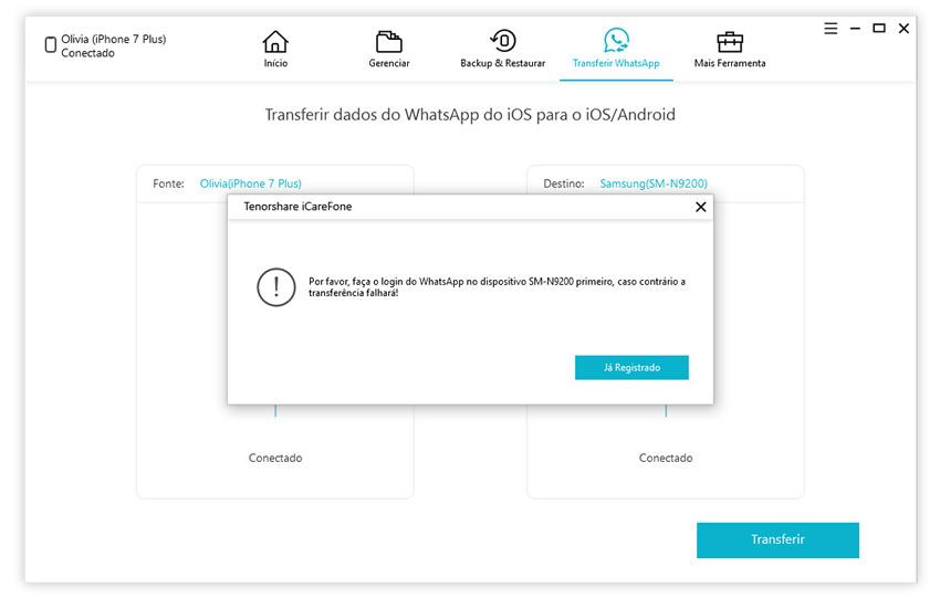 guia de transferir whatsapp iphone para iphone com icarefone etapa 2