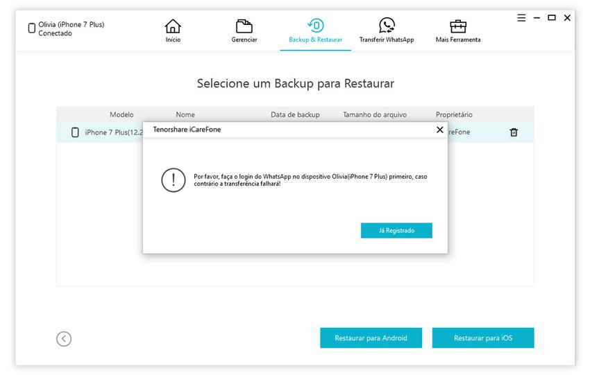guia de restaurar backup do whatsapp com icarefone etapa 3