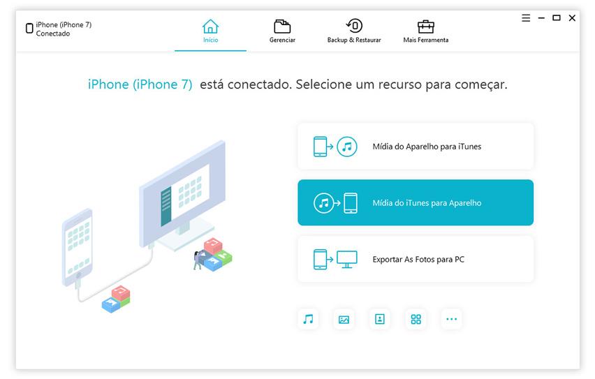 guia de passar midia do iTunes para aparelho com icarefone etapa 1