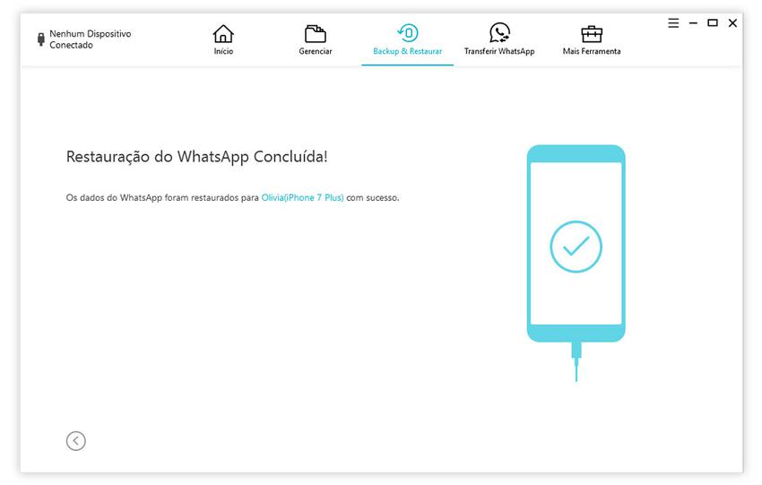 guia de restaurar backup do whatsapp para iphone com icarefone etapa 5