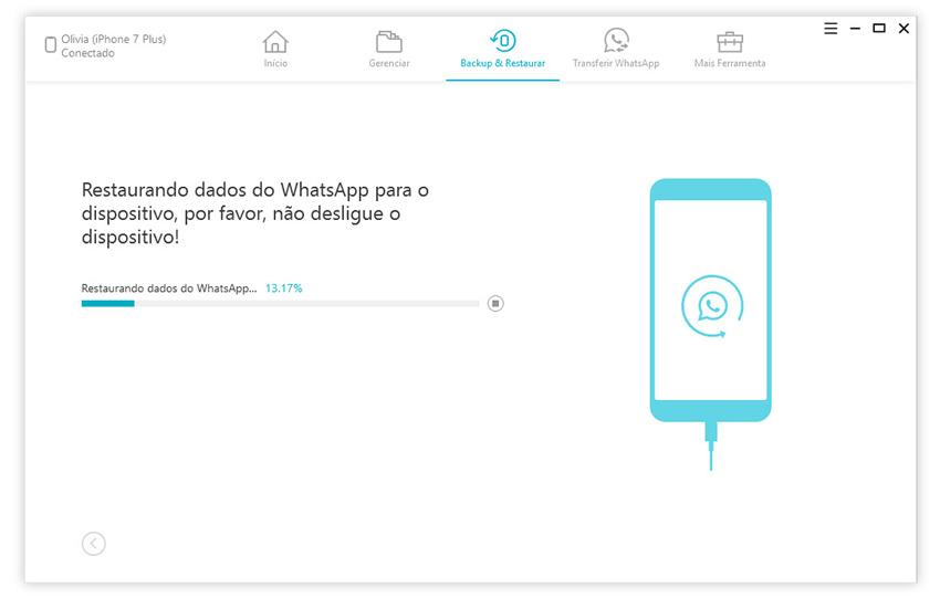 guia de restaurar backup do whatsapp para iphone com icarefone etapa 4
