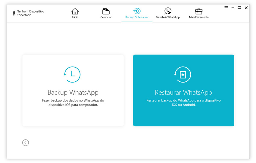 guia de restaurar backup do whatsapp para iphone com icarefone etapa 2