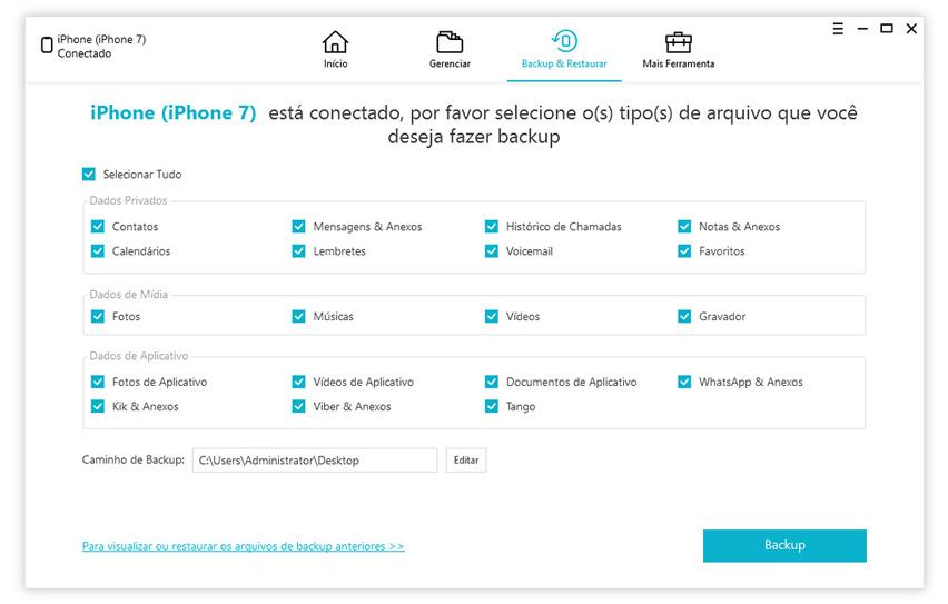 guia de fazer backup do iphone com icarefone etapa 2