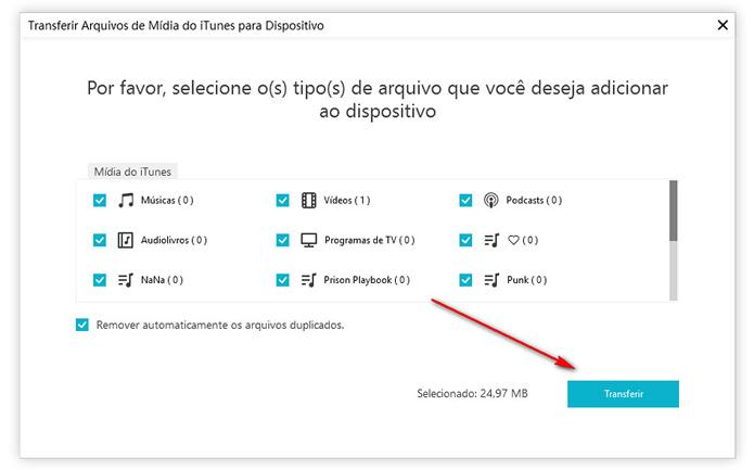 guia de passar midia do iTunes para aparelho com icarefone etapa 2