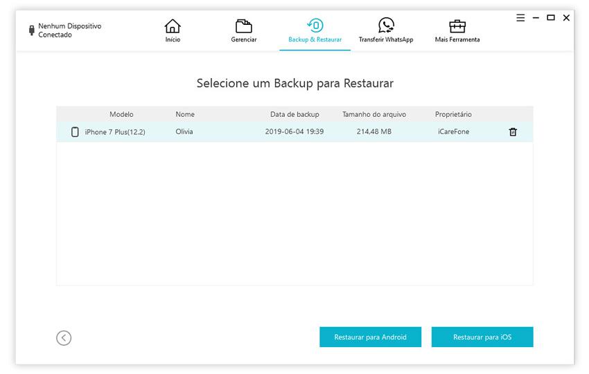 guia de restaurar backup do whatsapp para iphone com icarefone etapa 3