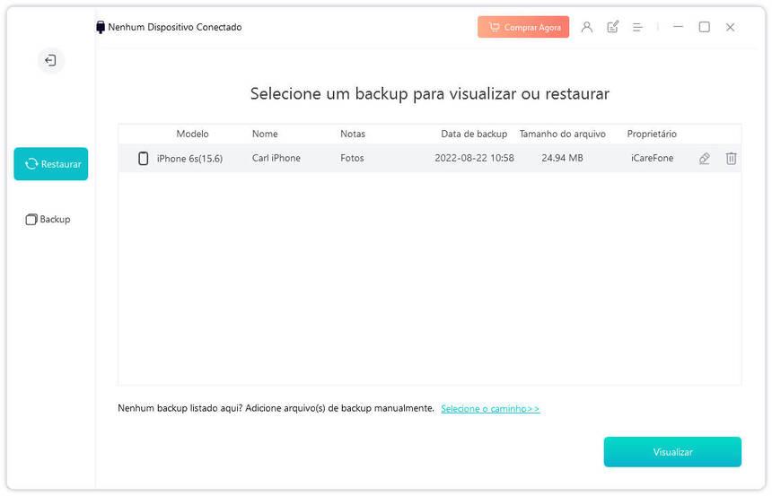 guia de restaurar backup no iphone com icarefone etapa 1