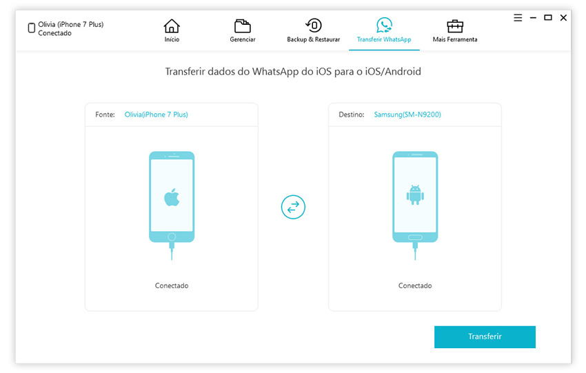 guia de transferir mensagens whatsapp iphone para iphone com icarefone etapa 1