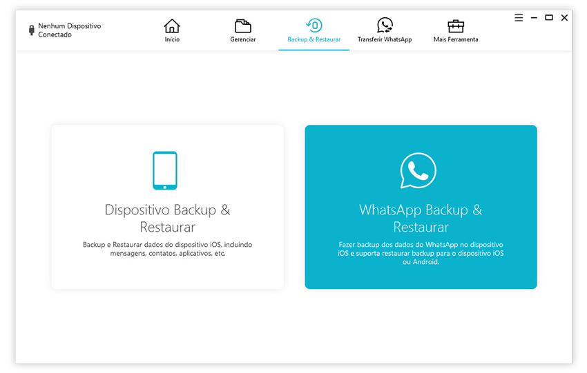 guia de fazer backup de conversas do whatsapp com icarefone etapa 1