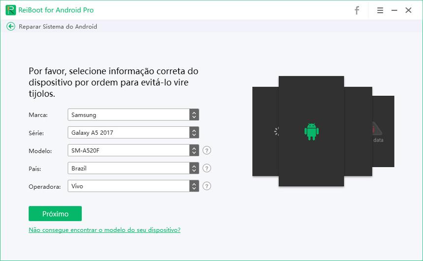 selecione informação do dispositivo