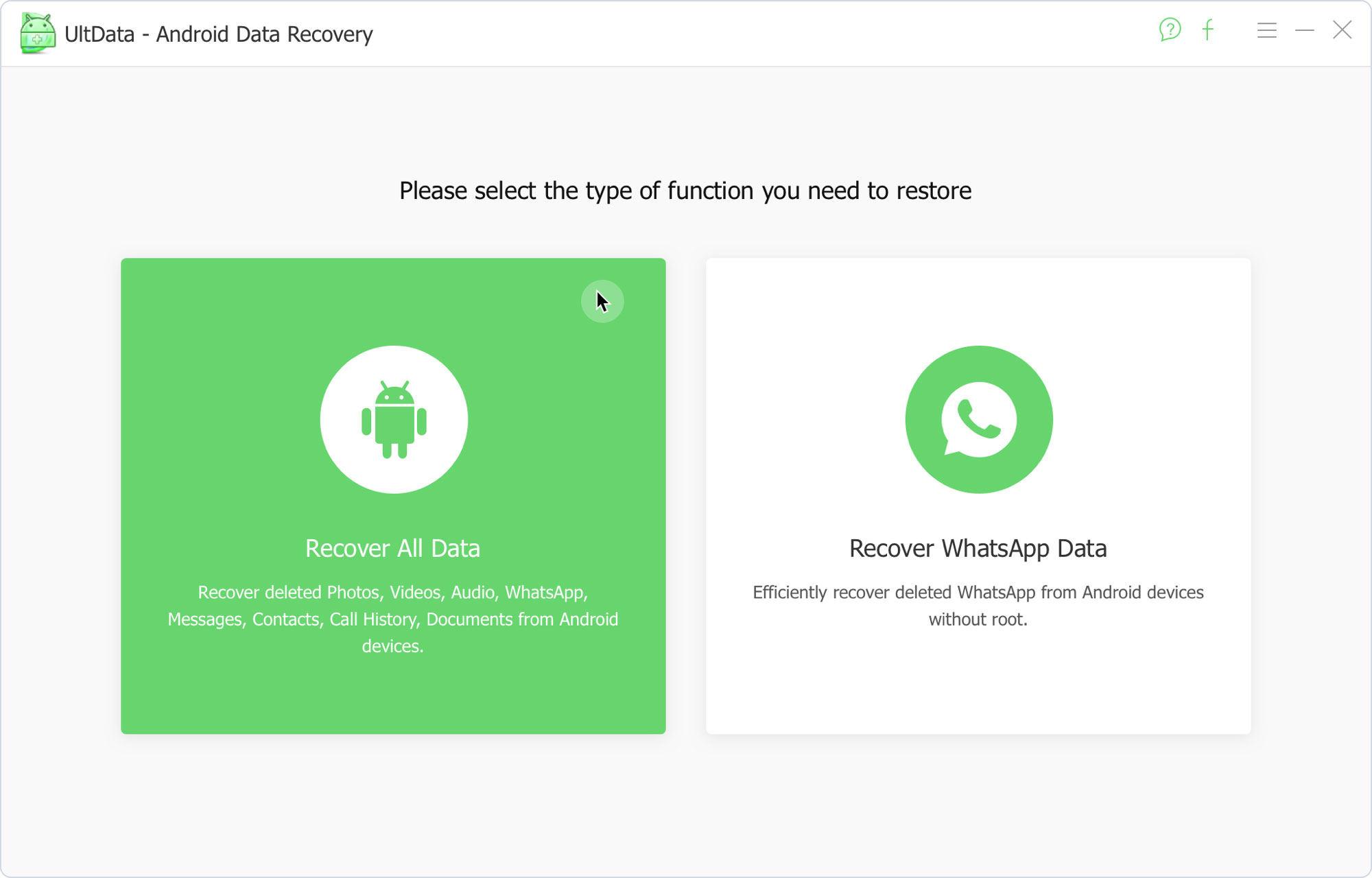 UltData for Android Recuperar Dados Android Etapa 1